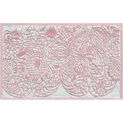 Hand-Hooked Pink Area Rug Rug Size: Rectangle 28 x 48