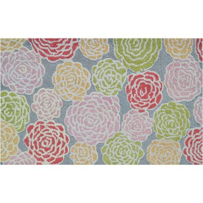 Hand-Hooked Pink/Green Area Rug Rug Size: Rectangle 47 x 77