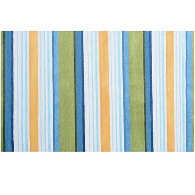 Handmade Blue/Green Outdoor Area Rug Rug Size: Rectangle 5 x 76