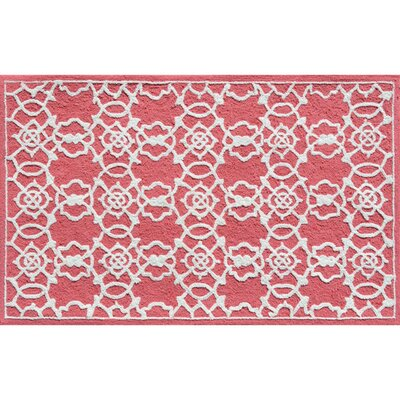 Hand-Hooked Coral/White Area Rug Rug Size: Rectangle 28 x 48