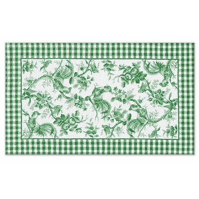 Hand-Hooked Green Area Rug