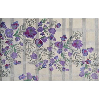 Handmade Ivory/Purple Area Rug Rug Size: Rectangle 10 x 13