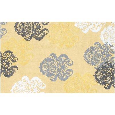Handmade Yellow/Gray Area Rug Rug Size: 47 x 77
