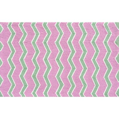 Hand-Hooked Pink Area Rug Rug Size: Rectangle 47 x 77