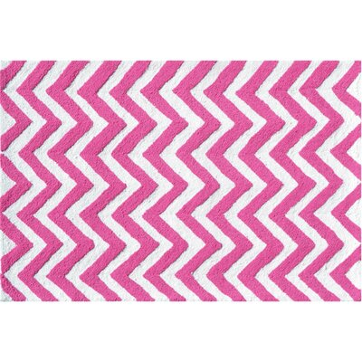 Hand-Hooked Pink/White Area Rug Rug Size: Rectangle 28 x 48