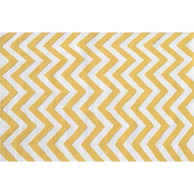 Hand-Woven Yellow/White Outdoor Area Rug Rug Size: Rectangle 5 x 76