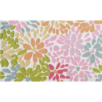 Hand-Hooked Pink/Green Area Rug Rug Size: Rectangle 28 x 48