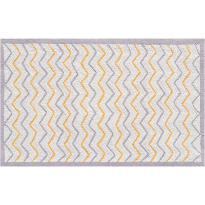Hand-Hooked Cream Area Rug Rug Size: Rectangle 47 x 77