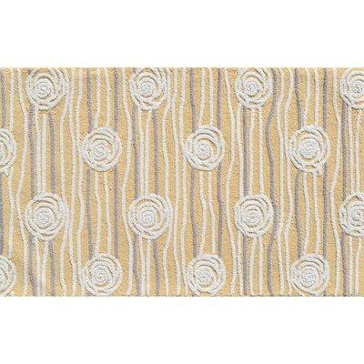 Hand-Hooked Yellow Area Rug Rug Size: 47 x 77