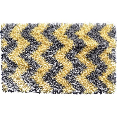 Handmade Yellow/Grey Area Rug Rug Size: Rectangle 27 x 47