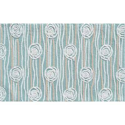 Hand-Hooked Teal Area Rug Rug Size: 28 x 48