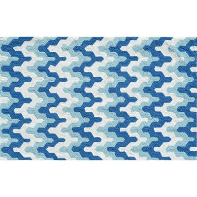 Hand-Hooked Blue Area Rug Rug Size: Rectangle 28 x 48