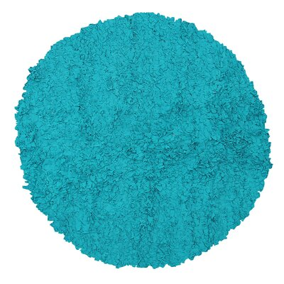 Handmade Teal Area Rug Rug Size: Round 4
