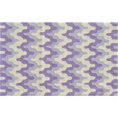 Hand-Hooked Purple Area Rug Rug Size: Rectangle 28 x 48