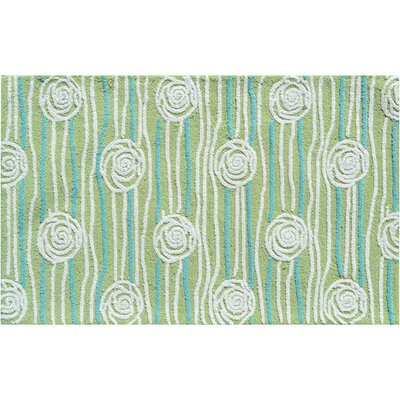 Hand-Hooked Green Area Rug Rug Size: Rectangle 47 x 77