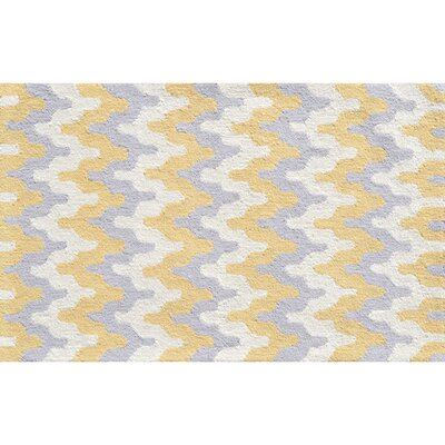 Hand-Hooked Yellow Area Rug Rug Size: Rectangle 47 x 77