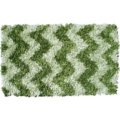 Handmade Chevron Green Area Rug Rug Size: Rectangle 47 x 77