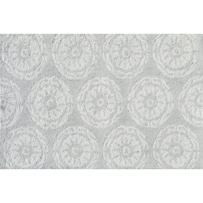 Hand-Hooked Gray Area Rug Rug Size: Rectangle 28 x 48