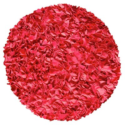 Hand-Woven Red Area Rug Rug Size: Round 4