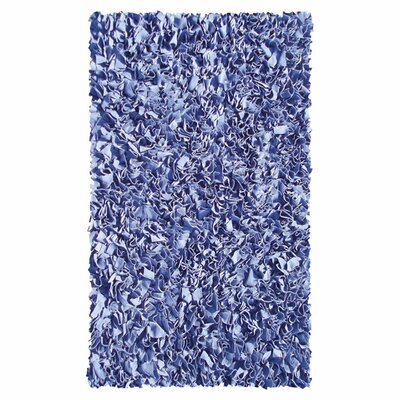 Hand-Woven Dark Blue Area Rug Rug Size: Rectangle 47 x 77