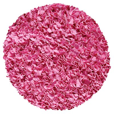 Hand-Woven Bubble Gum Area Rug Rug Size: Round 4