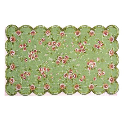 Hand-Hooked Green/Pink Area Rug Rug Size: 47 x 77