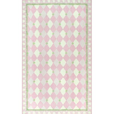 Hand-Hooked Pink Kids Rug Rug Size: 28 x 48