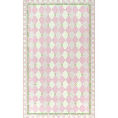 Hand-Hooked Pink Kids Rug Rug Size: 47 x 77