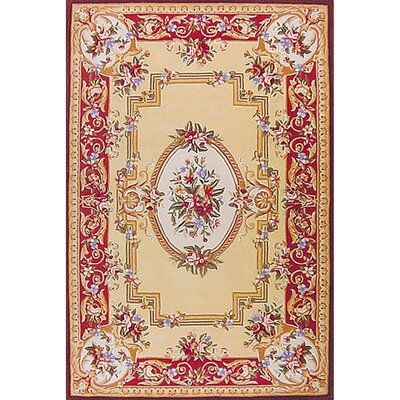 Traditional Hand-Tufted Coral Area Rug Rug Size: 36 x 56