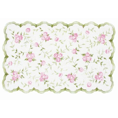 Hand-Hooked Pink/White Kids Rug Rug Size: 47 x 77