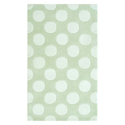 Hand-Hooked White/Green Area Rug Rug Size: 28 x 48