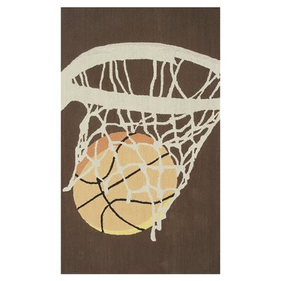 Hoops Hand-Hooked Brown Area Rug Rug Size: 28 x 48