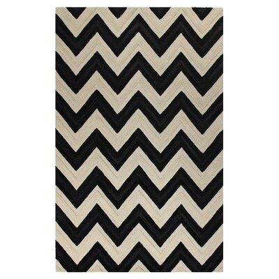 Hand-Tufted Ivory/Black Area Rug Rug Size: 36 x 56