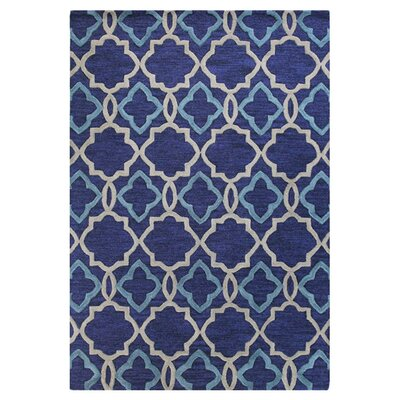 Hand-Tufted Navy Area Rug Rug Size: Rectangle 76 x 96