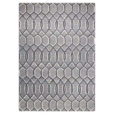 Hand-Tufted Grey Area Rug Rug Size: 5 x 76