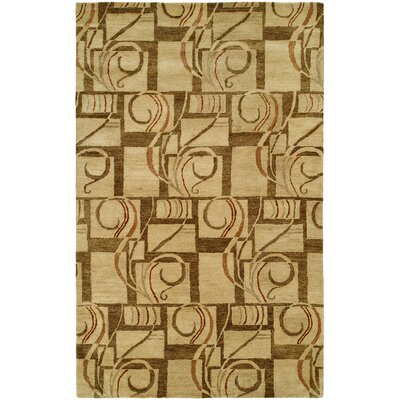 Hand-Tufted Gold Area Rug Rug Size: 5 x 8