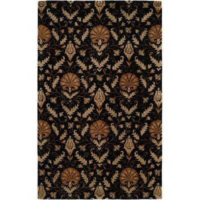 Hand-Tufted Black Area Rug Rug Size: 5 x 8