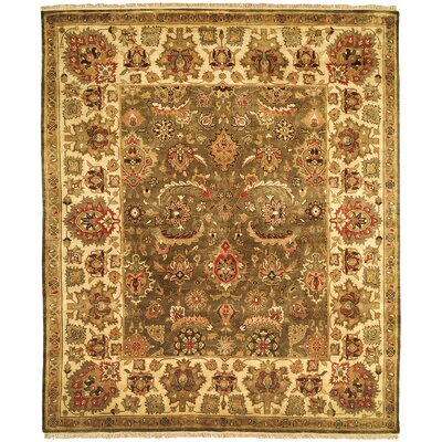 Hand-Knotted Sage/Ivory Area Rug Rug Size: 6 x 9