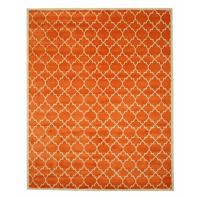 Durrant Hand Tufted Orange Area Rug Rug Size: 89 x 119