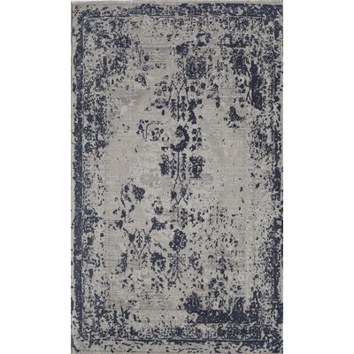 Navy Blue/White Area Rug Rug Size: 5 x 8
