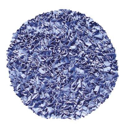 Hand-Woven Dark Blue Area Rug Rug Size: Round 4