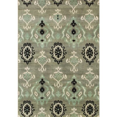 Hand-Tufted Green Ikat Area Rug