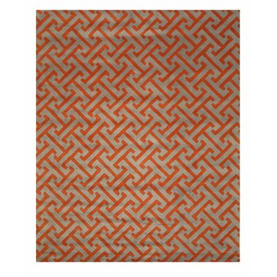Terrance Hand Tufted Gray/Orange Area Rug Rug Size: Rectangle 9 x 12