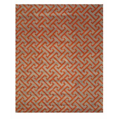 Terrance Hand Tufted Gray/Orange Area Rug Rug Size: 9 x 12