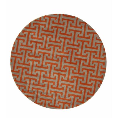 Terrance Hand Tufted Gray/Orange Area Rug Rug Size: Round 6