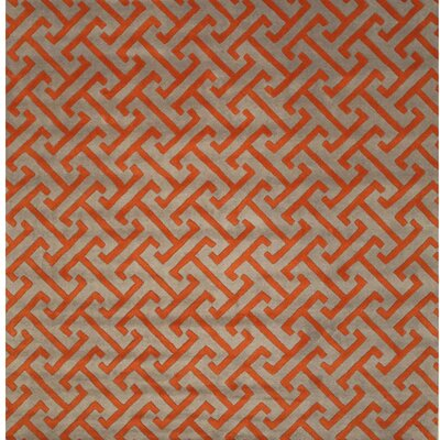 Terrance Hand Tufted Gray/Orange Area Rug Rug Size: Square 6