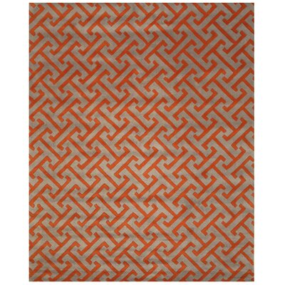 Terrance Hand Tufted Gray/Orange Area Rug Rug Size: 5 x 8