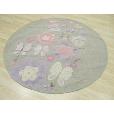 GretchenHand Tufted Gray Area Rug Rug Size: Round 6