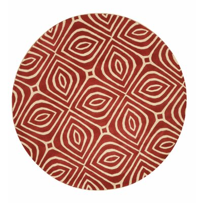 Wainwright Hand Tufted Red Area Rug Rug Size: Round 6