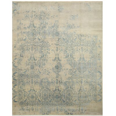 Madeline Erased Hand Knotted Ivory Area Rug